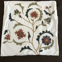 Pottery Barn Pillow Sham Euro Crewel Stitching Floral Square - $29.99