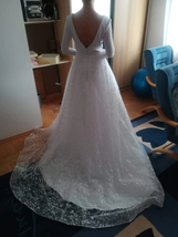 Booma Lace Long Sleeve V-neck Backless Satin Wedding Gown Plus Sizes image 9