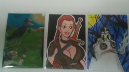 Lot of 3 ACEO  Cute Drawings Adorable Monster Smoking, Female Fighter, C... - $17.99