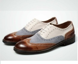 Handmade Mens White Brown Light Blue Suede Leather Shoes, Lace Up Stylis... - $140.00