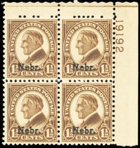 670, Mint VF NH Nebraska Plate Block of Four Stamps Cat $95.00 - Stuart ... - $55.00
