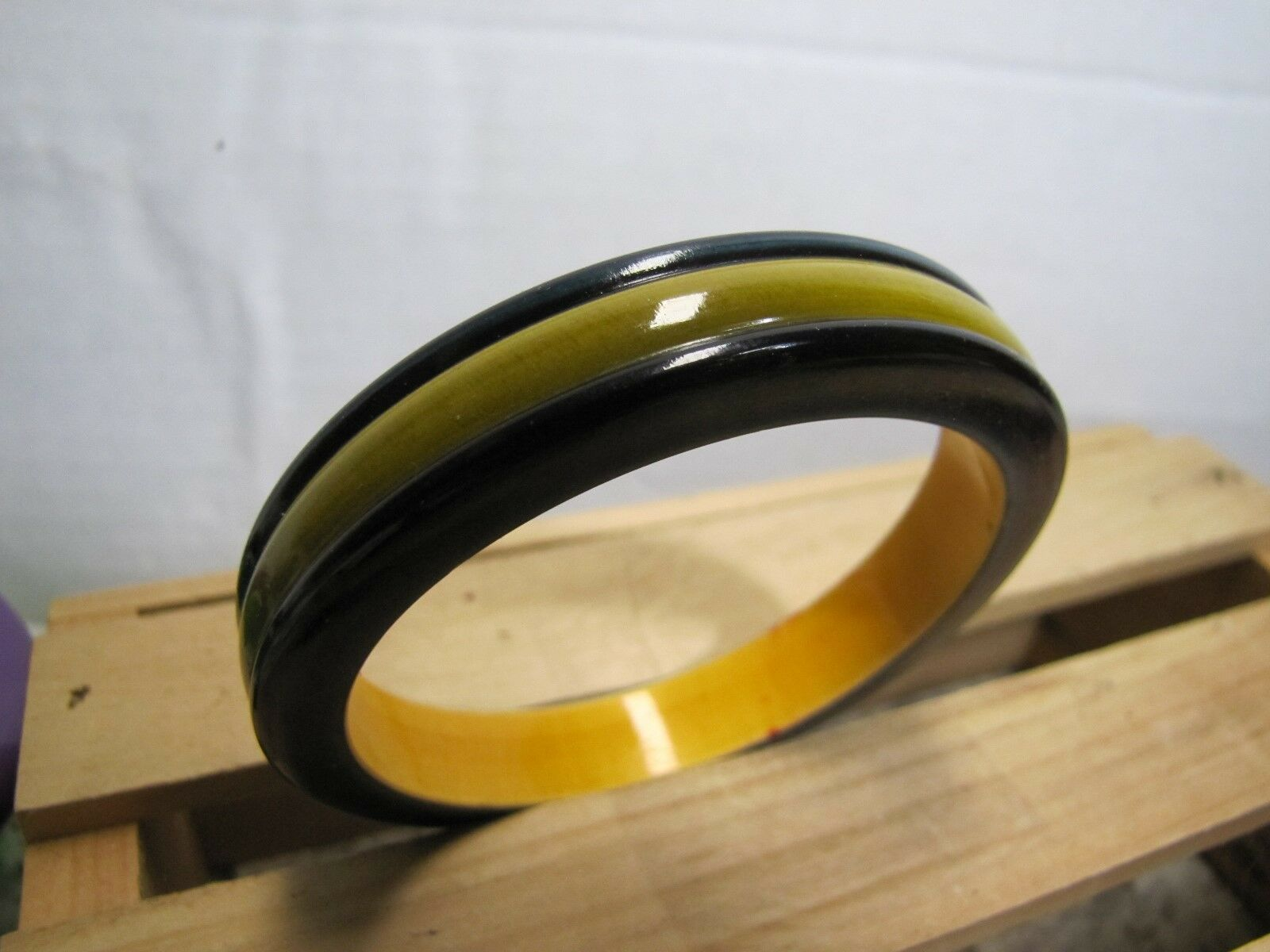 Vintage plastic Bangle spacer Cuff Bracelet Blackish Blue Yellow inlay plastic