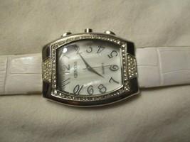 Geneva Wristwatch Silver Toned Rectangular Face Rhinestones White Buckle Band - $29.00