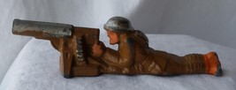 Vintage 1940's Barclay Manoil Toy Soldier Machine Gun Laying Down Cast Lead