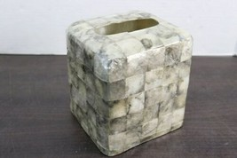 Vintage Silver Handmade Capiz Shell Tissue Box Cover Holder Mid Century Regency image 1