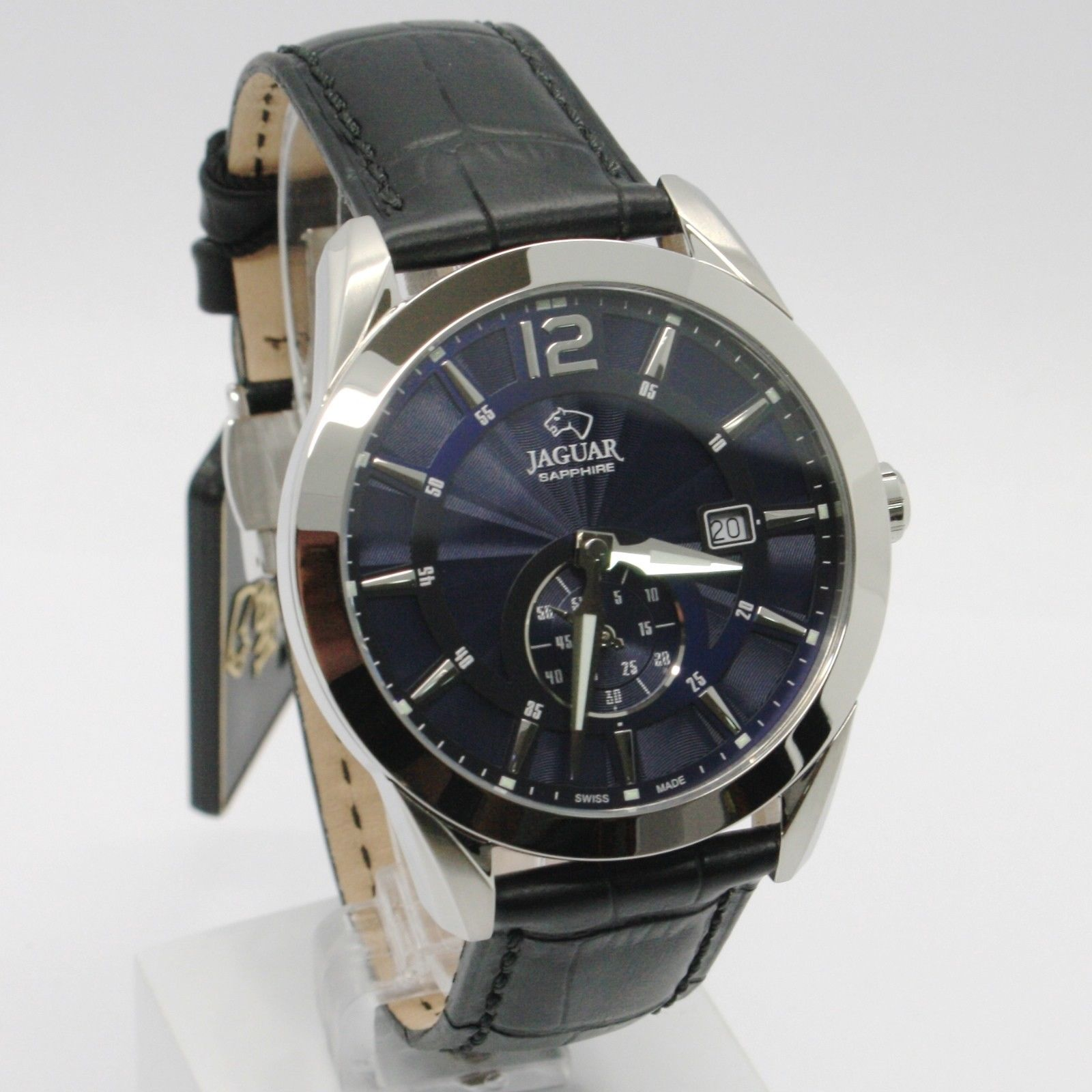 JAGUAR WATCH, SWISS MADE, SAPPHIRE CRYSTAL, BLUE, 43 MM CASE BLACK LEATHER BAND