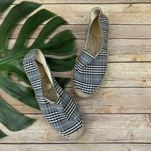 J.Crew Womens Blue Plaid Espadrille Flats Size 8 Slip On Canvas Casual - $39.59