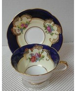 China TEA CUP & SAUCER by COLLINGWOODS Cobalt Hand Painted Floral Patter... - $23.27