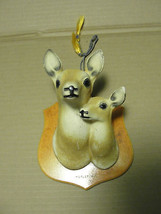 DOE&FAWN OLD  WALL HANGING ON WOOD PLAQUE,HURLEY WI.VTG - $61.75