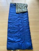 "Vintage Blue Nylon Cover Coleman Sleeping Bag 33"" X 81"" Plaid Lining Blue - $19.62"