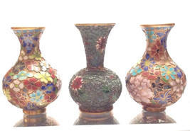 3 Vintage Small Chinese Champleve Enamel Vases Handcrafted - $145.00