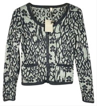 Anthropologie Animal Print Cardigan Medium Grey Black Sweater Sparkle Sw... - $55.30
