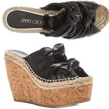 Jimmy Choo Priory Knotted Double Band Wedge Slingback Cork Sandals 35.5-... - $315.00