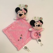 Disney Baby Minnie Mouse Security Blanket and Plush Rattle Pink 2 Piece Set New - $23.95