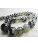 Graduated Dragon Veins Agate Necklace - New - $14.85
