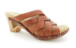 DANSKO Size 7.5 TROY Natural Brown Leather Woven Slide Sandals Shoes 38 Eur - $55.00