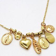 18K YELLOW ROSE GOLD NECKLACE, MIRACULOUS MEDAL, HEART, DROP, DISC, PENDANTS image 4