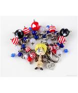America Charm Bracelet, Hetalia, Handmade, Anime Jewelry, Kawaii, OOAK - $61.00