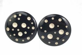 Large Lightweight Round Black White Dot Post Pierced Earrings Plastic - $10.36
