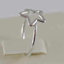 SOLID 18K WHITE GOLD BAND STAR RING LUMINOUS SMOOTH, STARS, MADE IN ITALY image 2