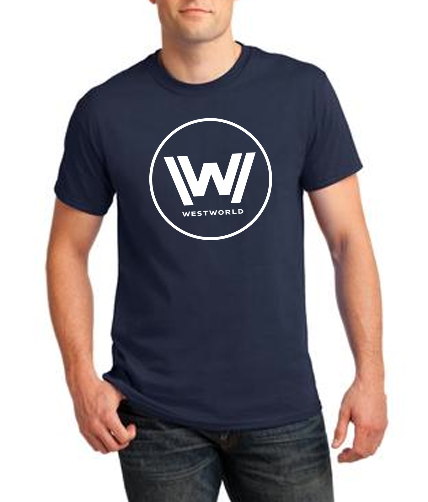 Westworld navy blue t shirt model