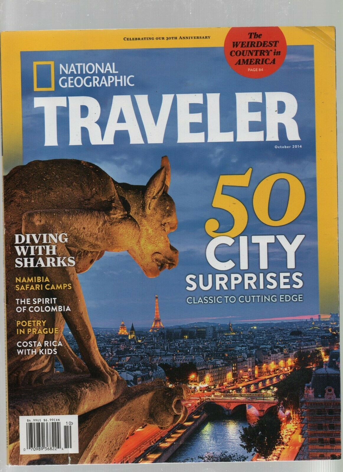 National Geographic Traveler - October 2014 - Sharks, Namibia, Colombia, Prague.