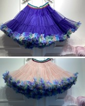 Women Girl Short Ruffle Layered Tulle Skirt Outfit Plus Size Tulle Holiday Skirt image 11