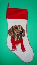 Red Dachshund Christmas Holiday Stocking - $19.50