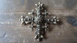 RARE Vintage Accessocraft Jerusalem Crusader Cross Brooch / Pendant 7.5cm - $100.97