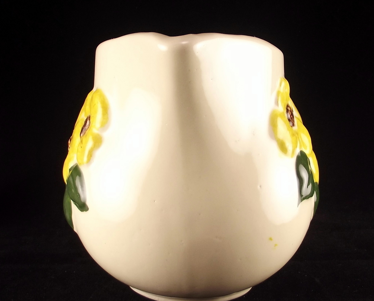 Vintage American Bisque APCO pottery pitcher yellow flowers