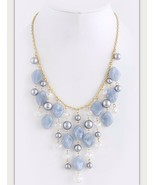 Gorgeous Marbled Gray Blue Faux Pearl Crystal Glass Bib Statement Necklace. - $15.75