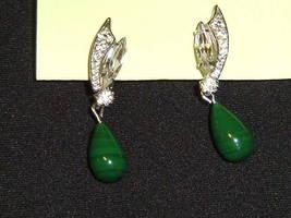 Vintage Rhinestone & Jade Dangle Earrings Clip-On - $39.99