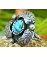 Vintage Native American Leaf Ring Sterling Turquoise Signed Woman  - $49.95