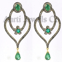 Victorian 3.54ct Rose Cut Diamond Emerald Charming Dangler Wedding Earrings - $505.02