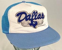 DALLAS TEXAS Hat-Lone Star-Mesh-Blue-Snapback-Vacation Cap-Vintage - $14.95
