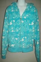Old Navy Girls Jacket Size L 10 12 Blue Heart Peace Fleece Zip Up Hoodie... - $18.80