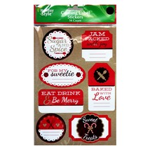 HOLIDAY STYLE* 14pc Set CANNING LABEL STICKERS Red+White+Foil CHRISTMAS ... - $3.49