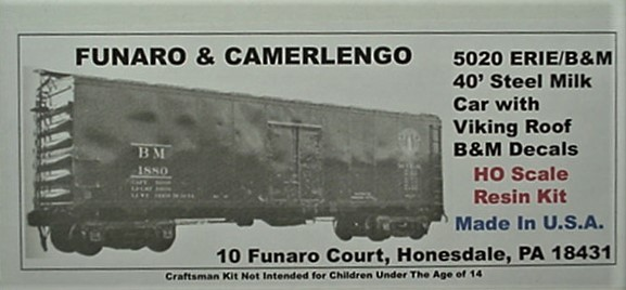 Funaro & Camerlengo HO Boston & Maine 40' Steel Milk Car Kit 5020