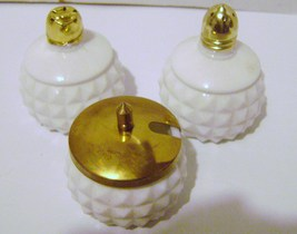 Milk Glass Diamond Cut Condiment Set - $16.00