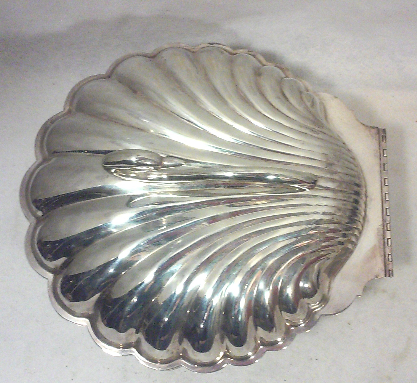 Vintage Hollywood Regency Silverplate Clam Shell Serving Dish with Swan Handle