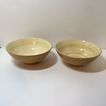 "2 Cereal Soup Bowls Sango Patio Cream 7.5"" Yellow - $14.50"