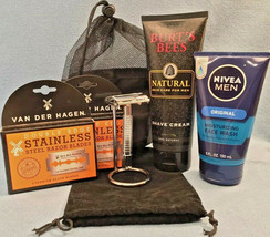 6 Part Shave Set: Safety Razor, Burt's Bees Shave Cream, Nivea For Men F... - $21.90
