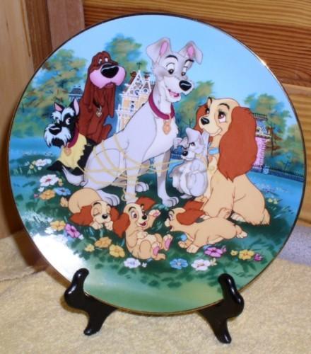 Disney  Lady & Tramp with scottie dog Porcelain plate