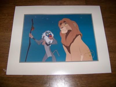 Disney Lion King Gold Seal  simba & monkey Lithograph