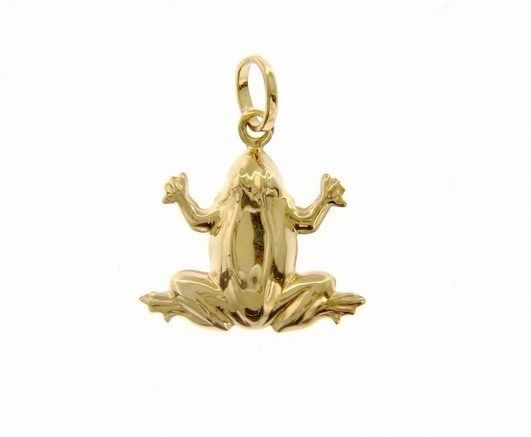 18K YELLOW GOLD ROUNDED FROG PENDANT CHARM 23 MM, SMOOTH, BRIGHT, MADE IN ITALY