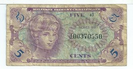 Series 641 Banknote 5 Cents Replacement MPC #550 Military Payment Certif... - $68.85
