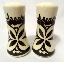 HAWAII Polynesian Salt & Pepper Shakers Ivory Brown ceramic Pottery Lotu... - $14.84