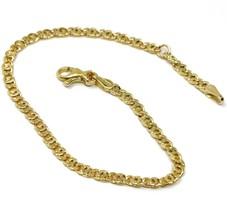 "18K YELLOW GOLD BRACELET FLAT LINKS, length 16 cm 6.3"" INCHES, 2.5 mm image 1"