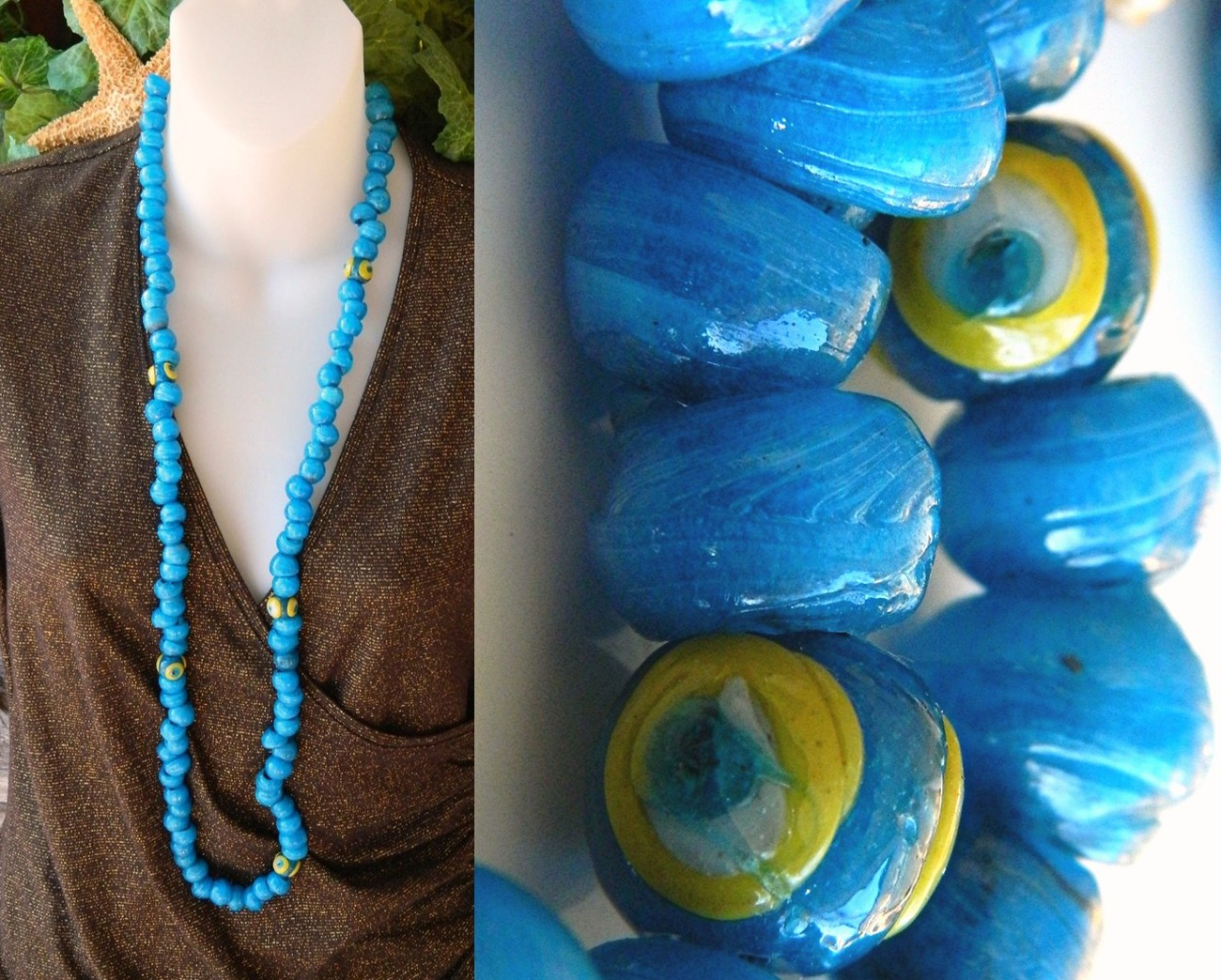 Vintage 103 glass wound beads large strand necklace blue aqua