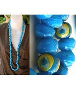 Vintage Glass Wound Beads Strand Necklace Blue Large 103 Craft - $84.95